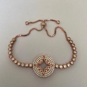 925 Silver slider bracelet compass star cz stones